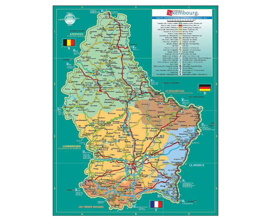 Detailed travel map of Luxembourg