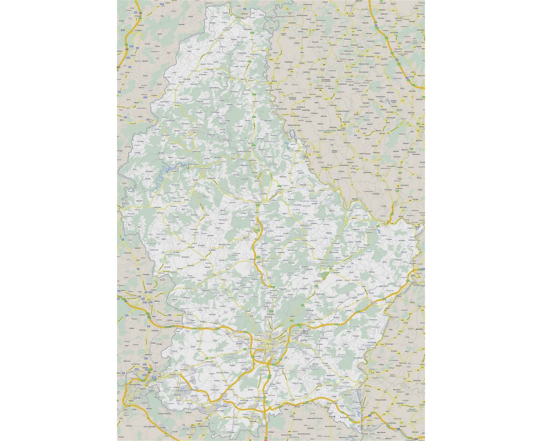 Large detailed road map of Luxembourg with all cities