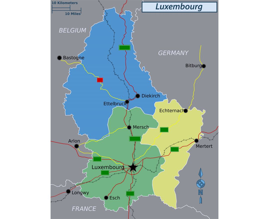 Large regions map of Luxembourg