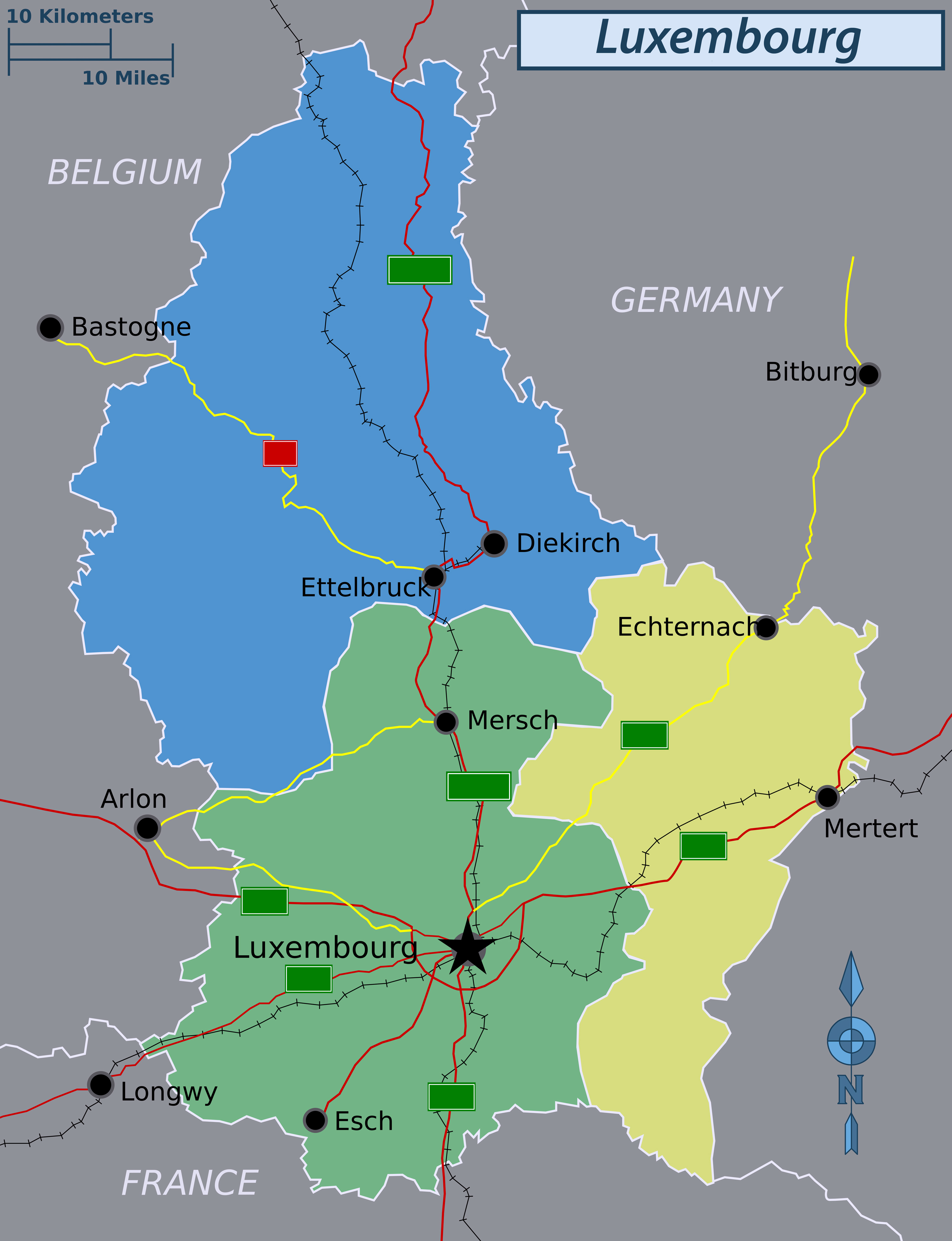 large regions map of luxembourg. large regions map of luxembourg  luxembourg  europe  mapsland