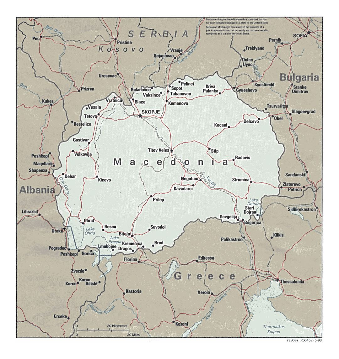 Detailed political map of macedonia with roads and major cities detailed political map of macedonia with roads and major cities 1993 publicscrutiny Image collections
