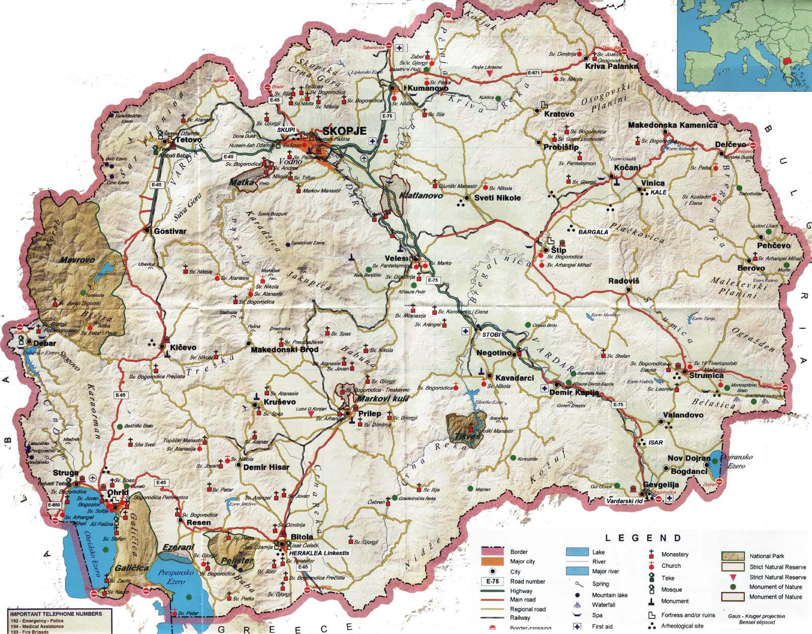 Detailed tourist map of Macedonia Macedonia Europe Mapsland