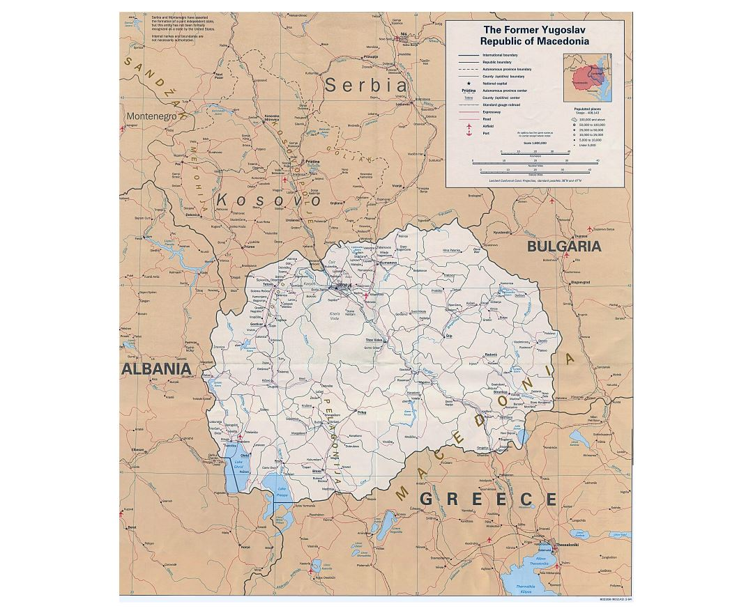 Maps of macedonia detailed map of macedonia in english tourist large detailed political map of macedonia with roads railroads cities and airports 1994 publicscrutiny Image collections