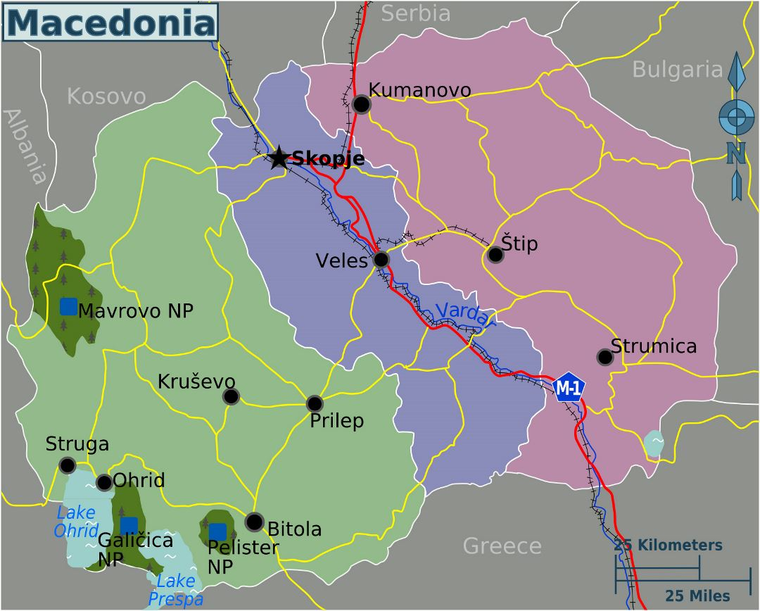 Large detailed regions map of Macedonia