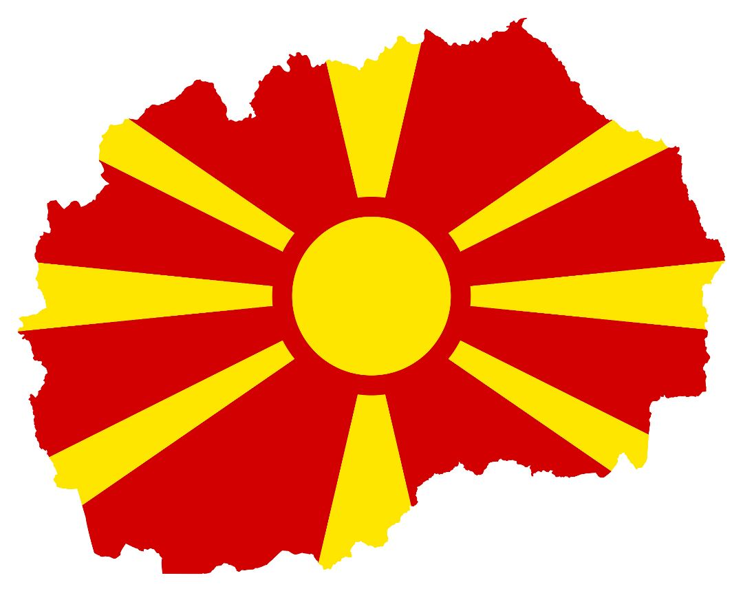 Large flag map of Macedonia