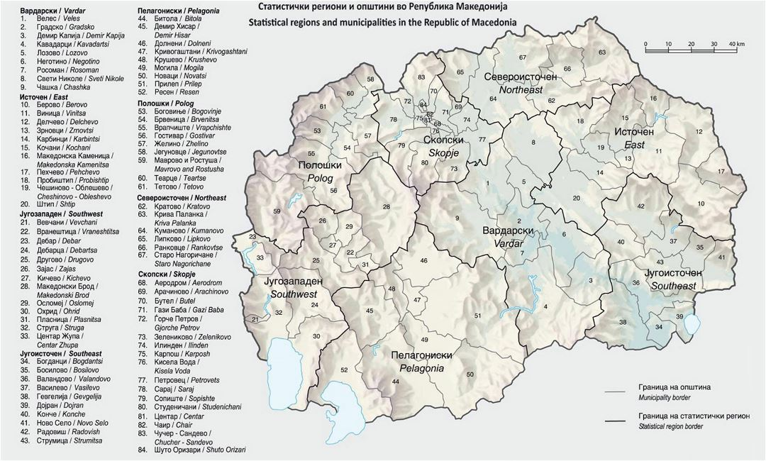 Large map of Statistical Regions and Municipalities in the Republic of Macedonia