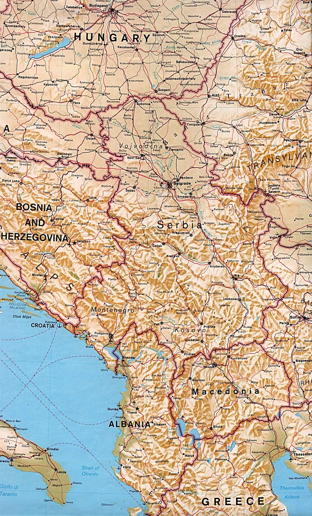 Large political map of and Macedonia with relief, roads, cities and airports
