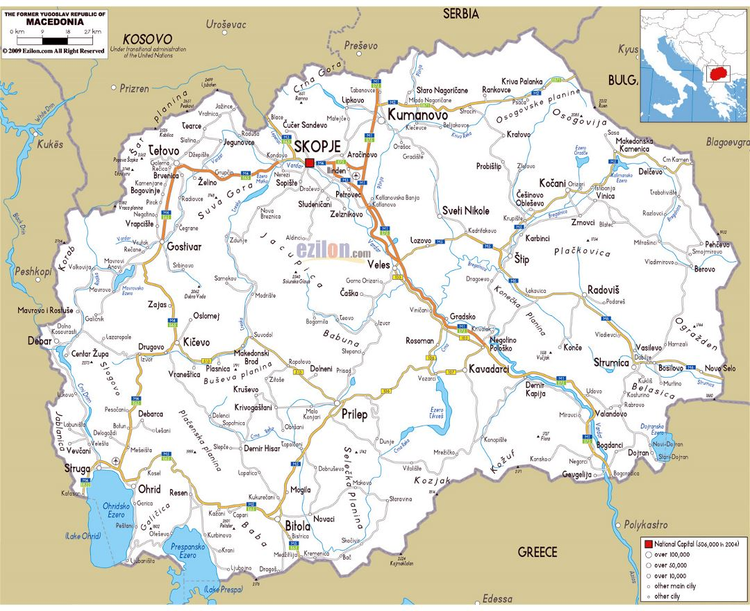 Maps of macedonia detailed map of macedonia in english tourist large road map of macedonia with cities and airports publicscrutiny Image collections