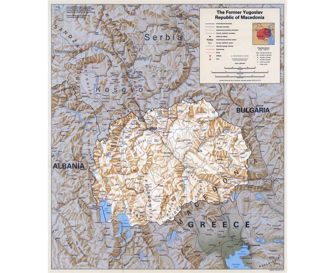 Maps of macedonia detailed map of macedonia in english tourist large scale political map of macedonia with relief roads railroads cities and airports publicscrutiny Choice Image