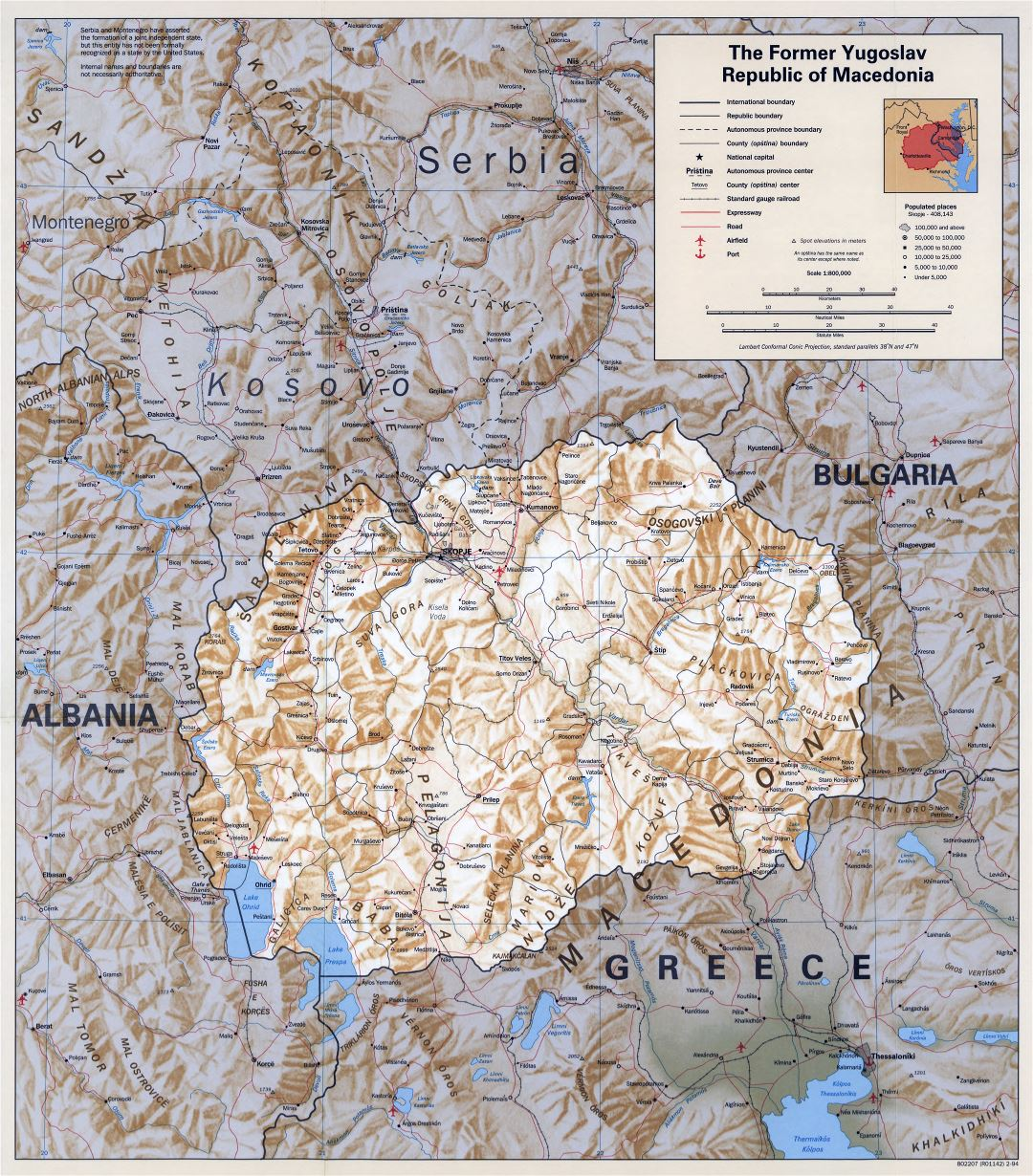 Large scale political map of Macedonia with relief, roads, railroads, cities and airports - 1994