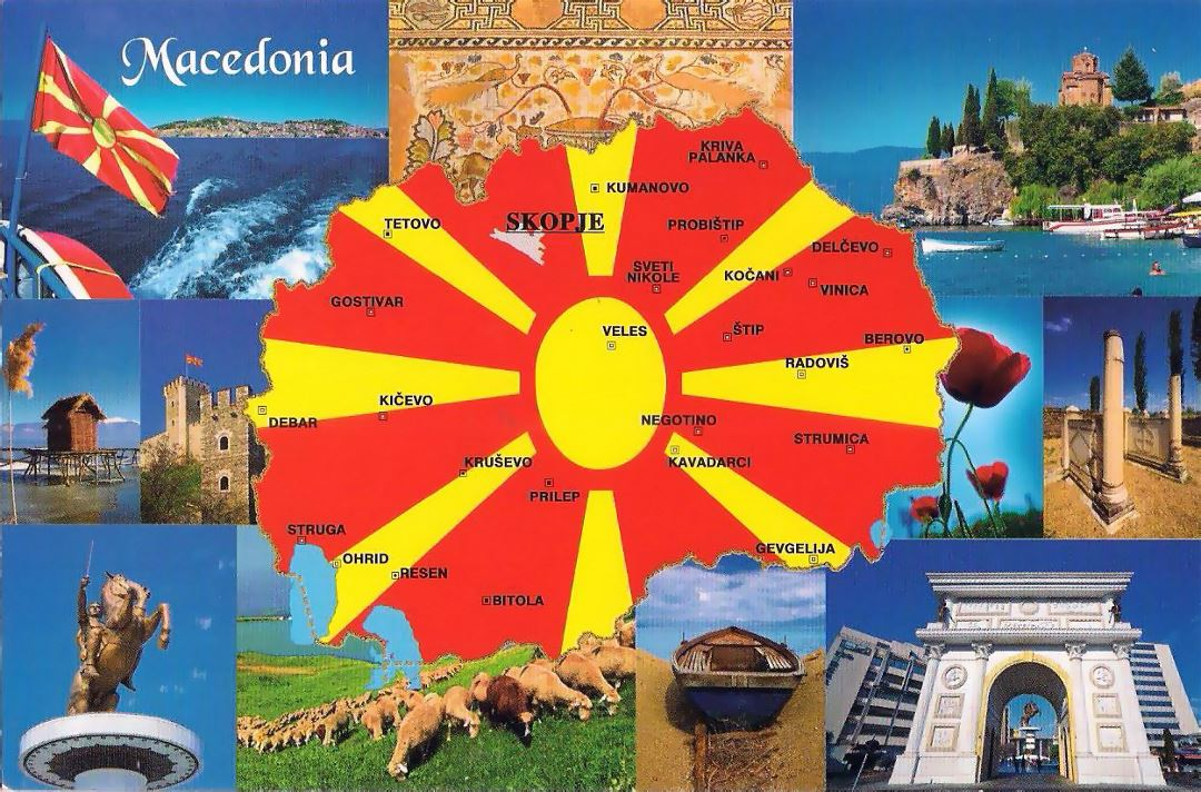 Large tourist post card map of Macedonia