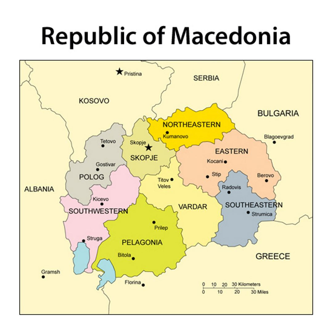 Small administrative map of Macedonia