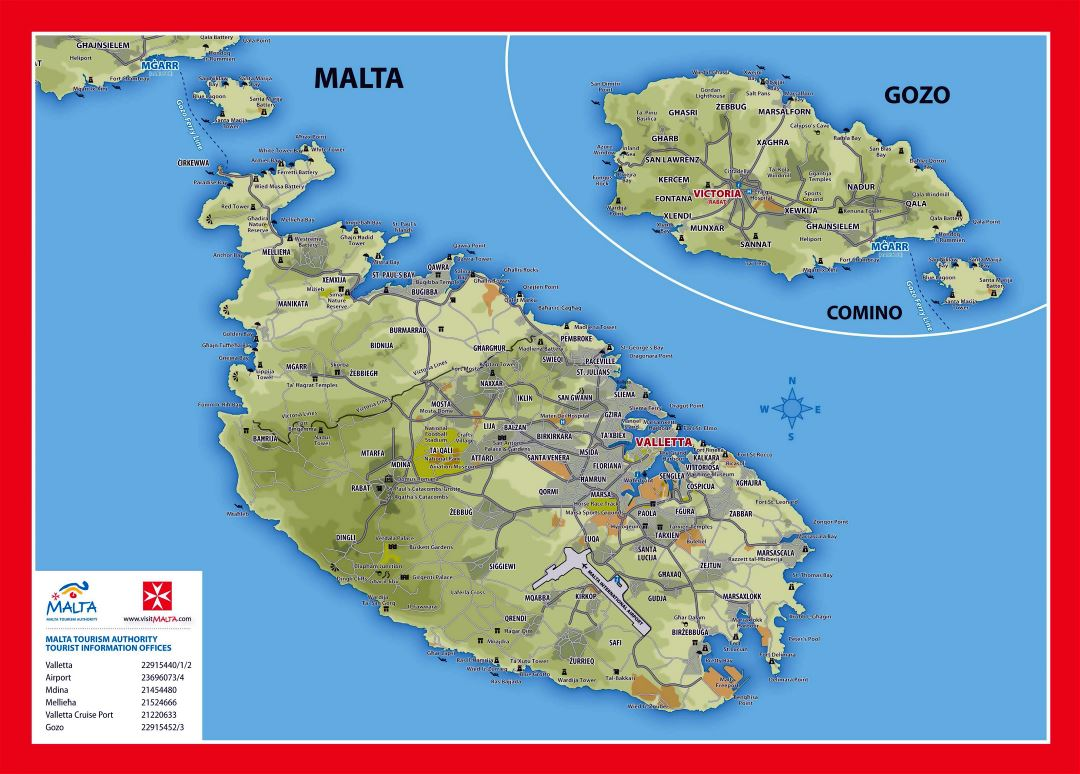 Large detailed elevation and tourist map of Malta and Gozo with roads, cities and villages