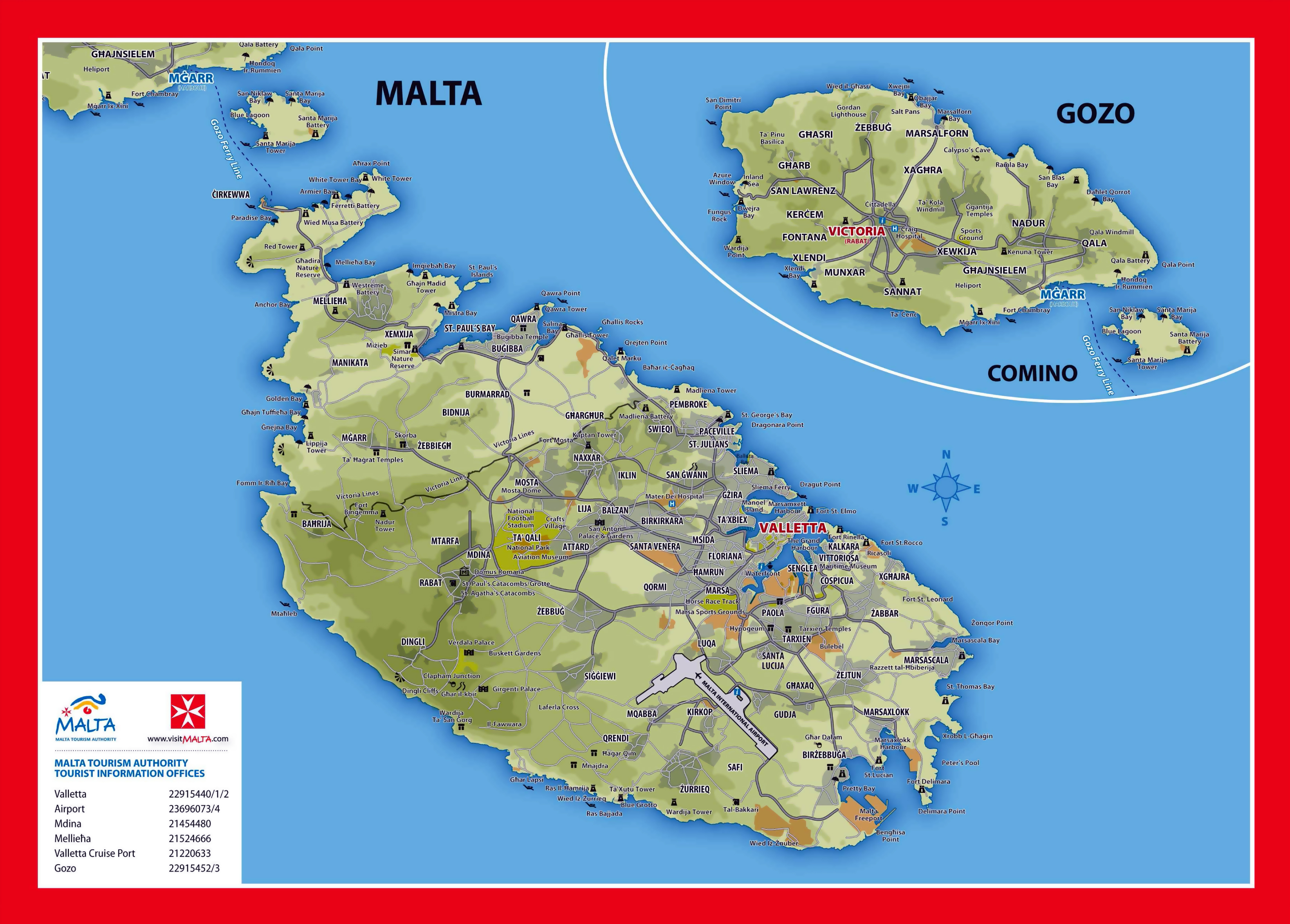 Large detailed elevation and tourist map of Malta and Gozo with