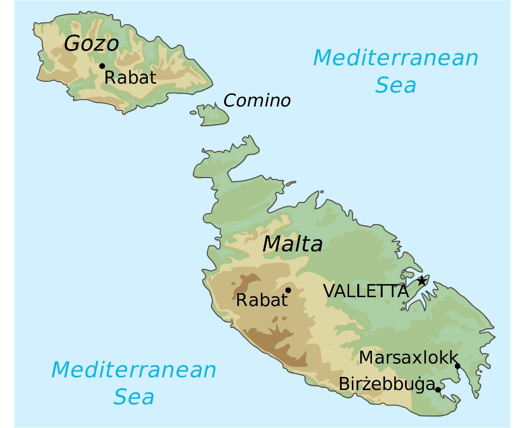 Maps of malta detailed map of malta in english tourist map large detailed elevation map of malta and gozo gumiabroncs Choice Image