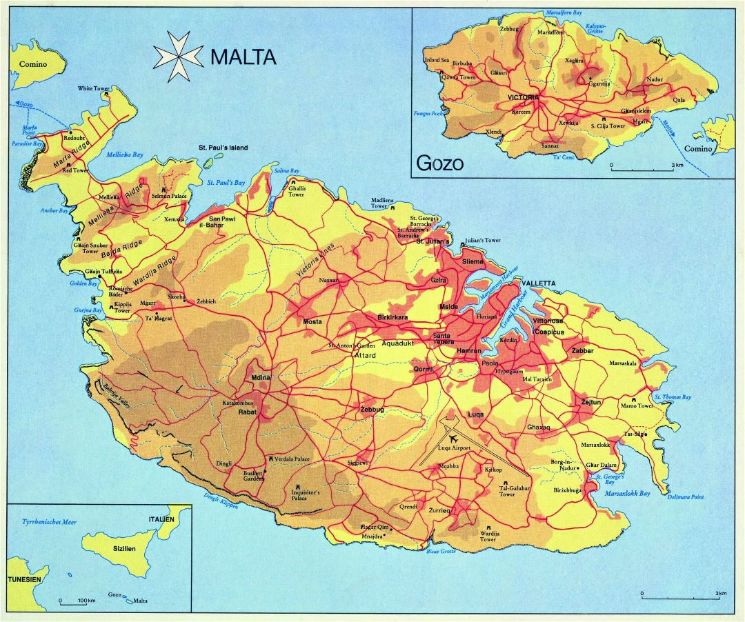 Large detailed elevation map of Malta and Gozo with roads, cities and villages