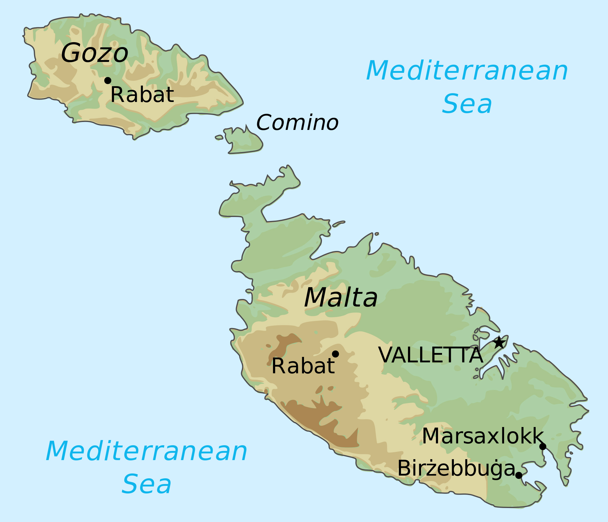 Large Detailed Elevation Map Of Malta And Gozo Malta Europe - Malta maps with countries