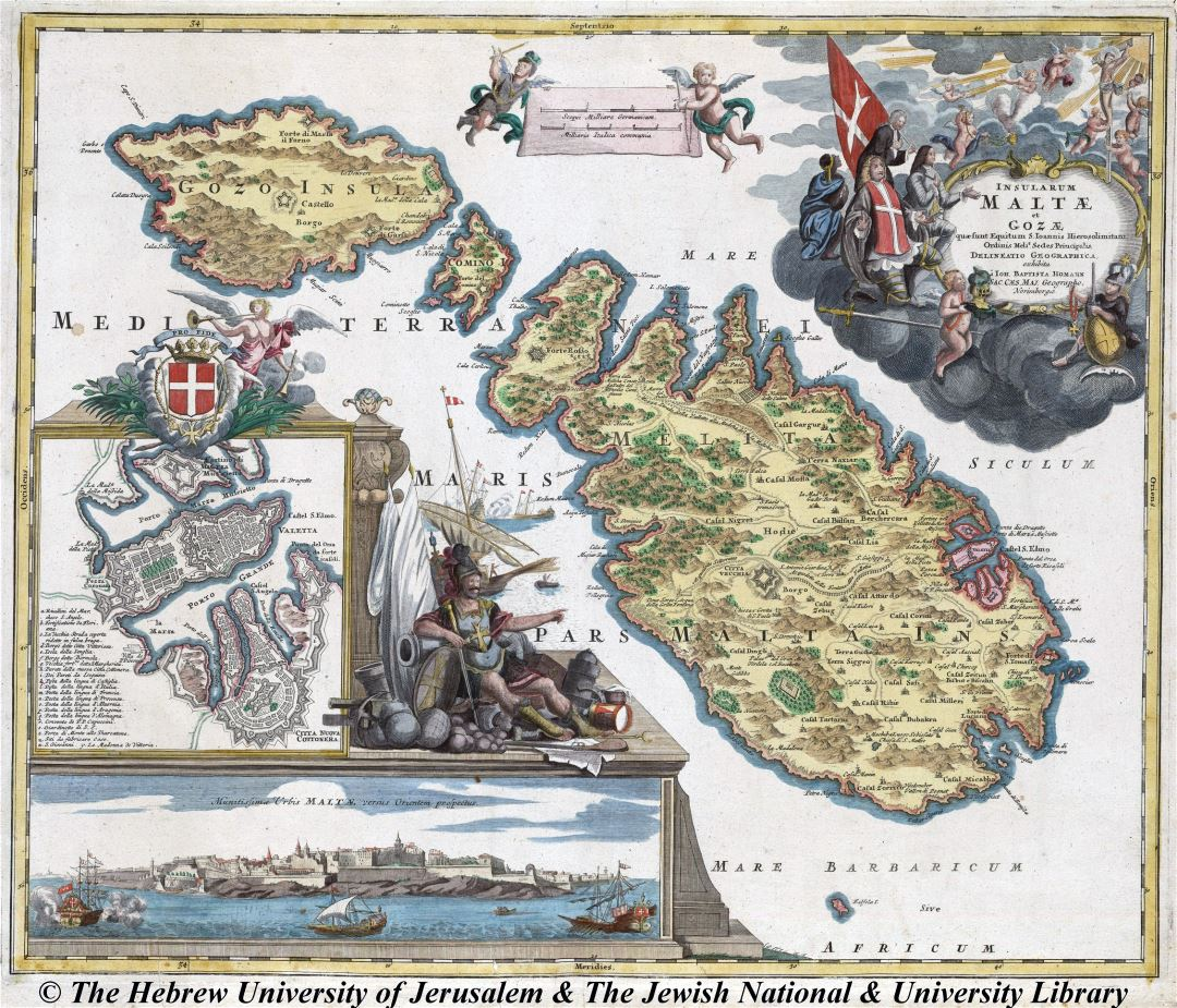 Large detailed old map of Malta and Gozo - 1720