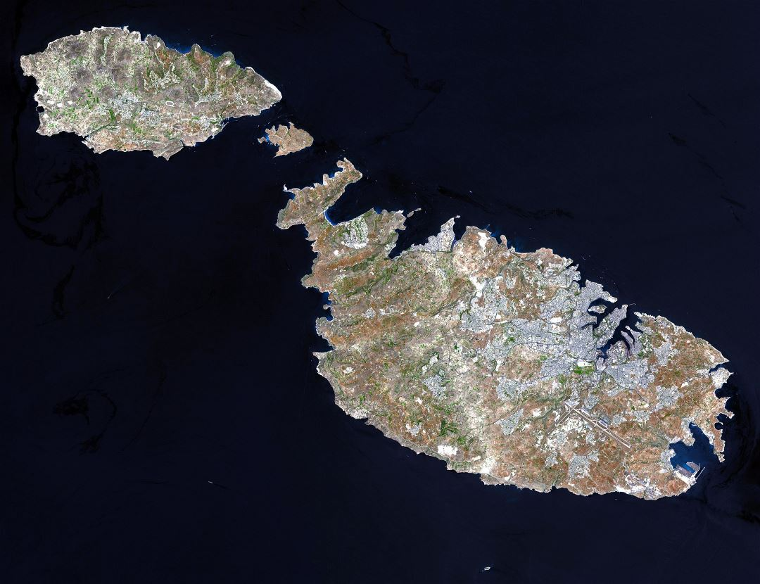 Large detailed satellite map of Malta and Gozo