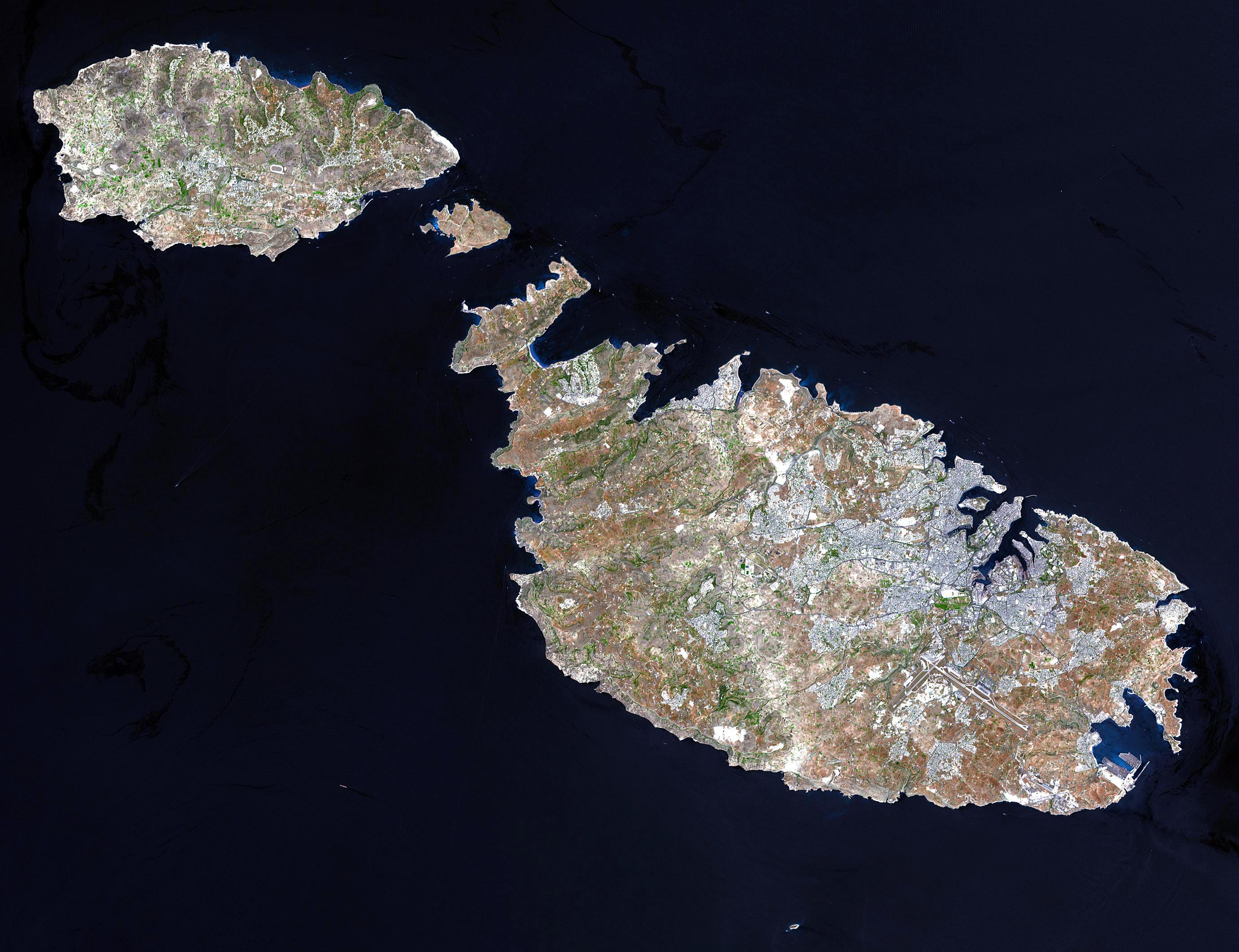 Large detailed satellite map of Malta and Gozo | Malta