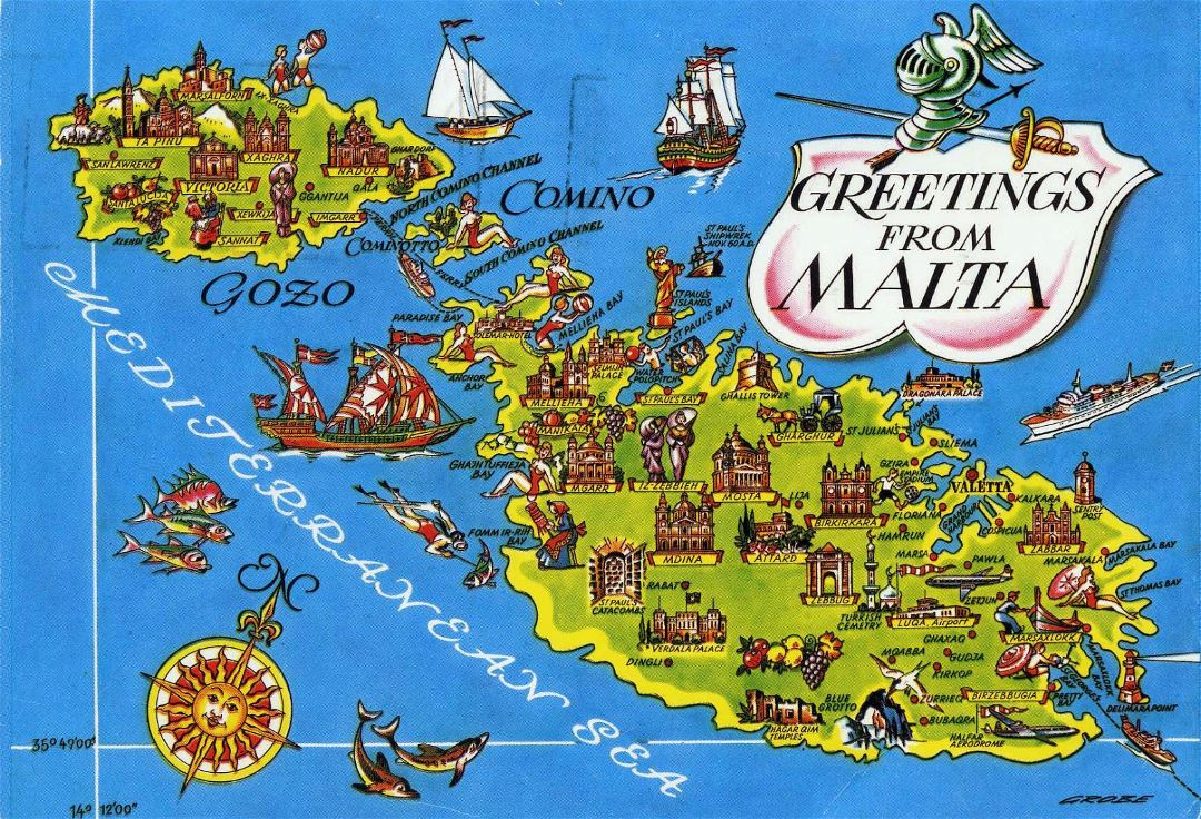 Large detailed tourist illustrated map of Malta