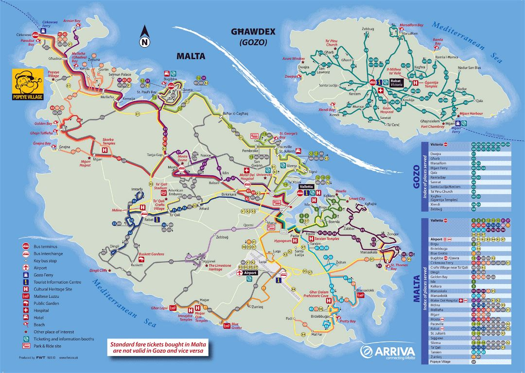 Large detailed tourist map of Malta and Gozo with bus routes
