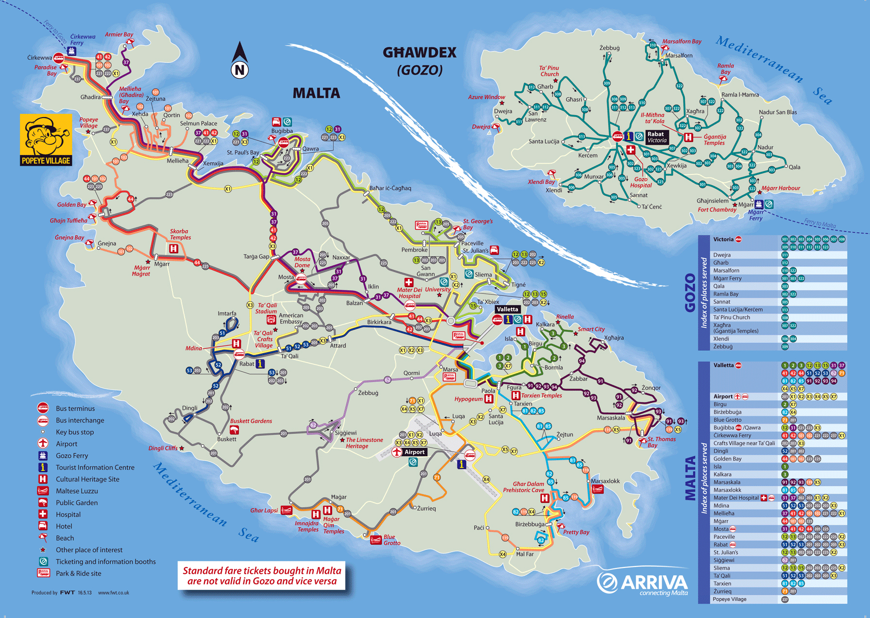 large detailed tourist map of malta and gozo with bus routes. large detailed tourist map of malta and gozo with bus routes