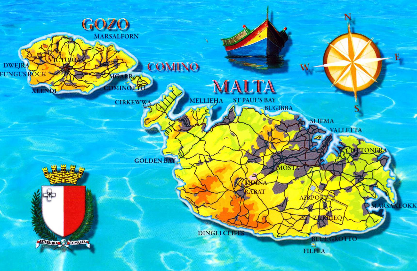 Large detailed tourist map of malta malta europe mapsland large detailed tourist map of malta gumiabroncs Gallery