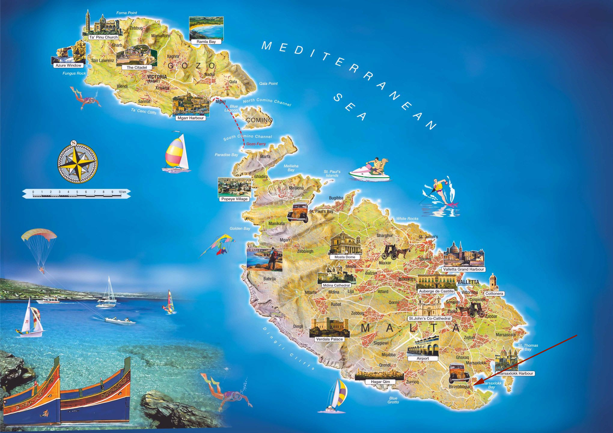 Large detailed travel map of Malta Malta Europe – Detailed Travel Map Of Europe