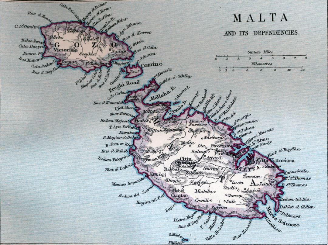 Large old map of Malta with relief and other marks - 1907