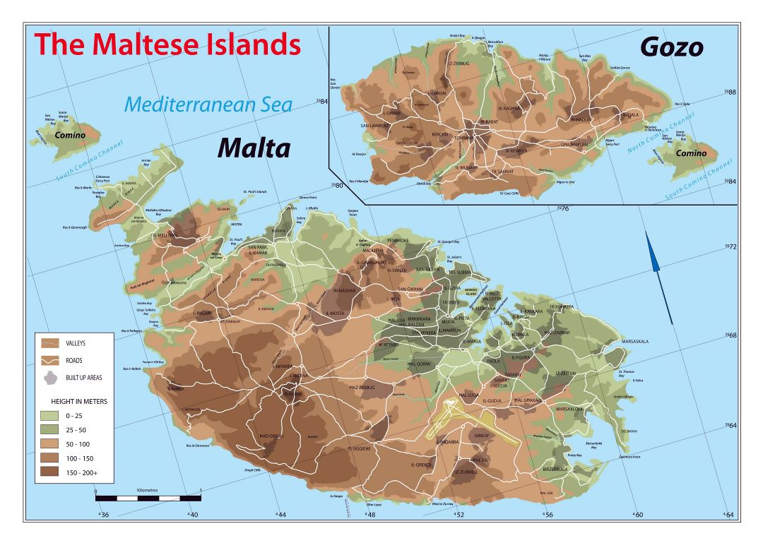 Large scale elevation map of Malta and Gozo with other marks