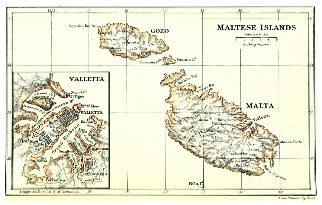 Large scale old map of Malta and Gozo with relief - 1888