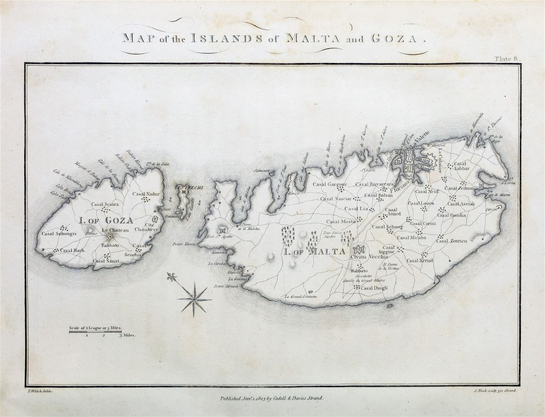 Large scale old map of Malta and Gozo with roads and cities - 1803