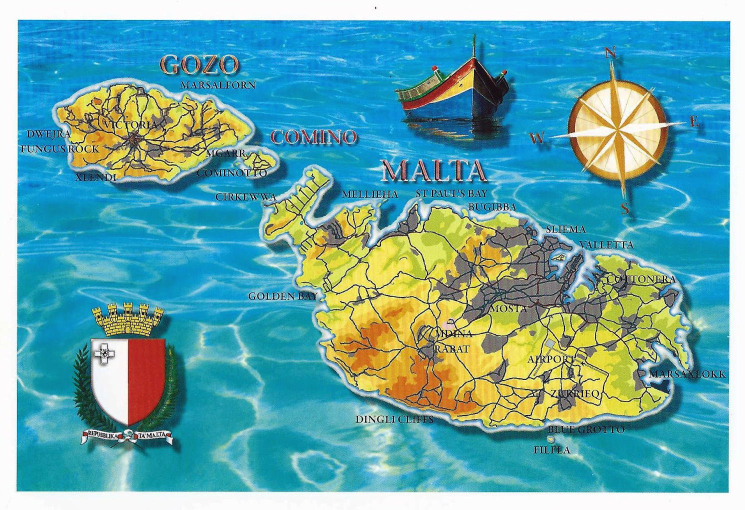 Large tourist map of Malta Malta Europe Mapsland Maps of the
