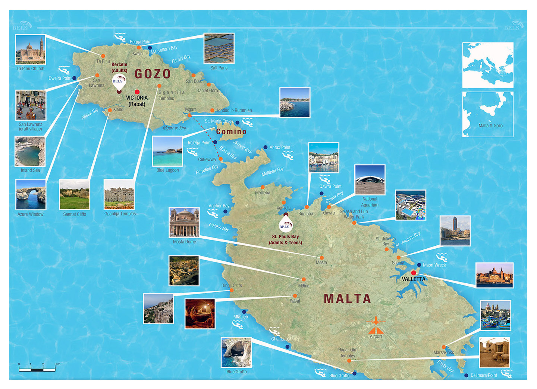 Large Travel Map Of Malta And Gozo Malta Europe