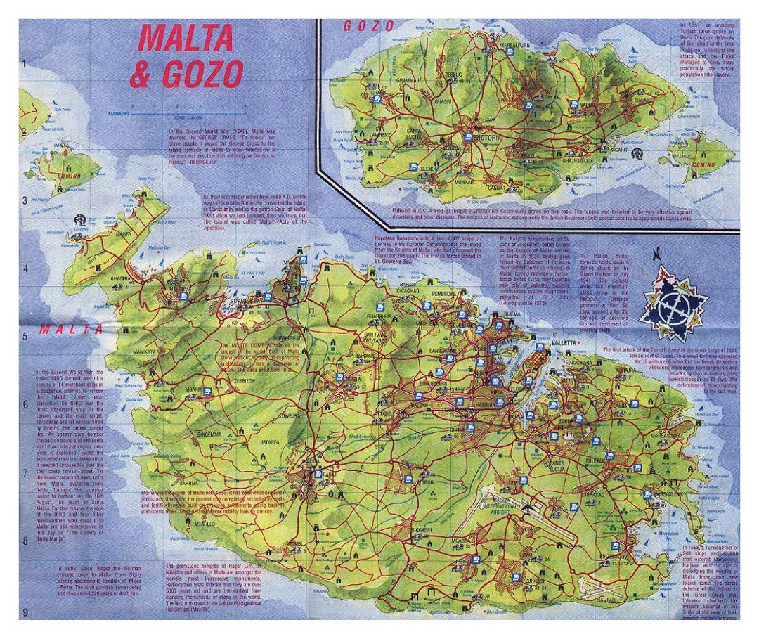 Tourist map of Malta with relief roads and cities Malta Europe