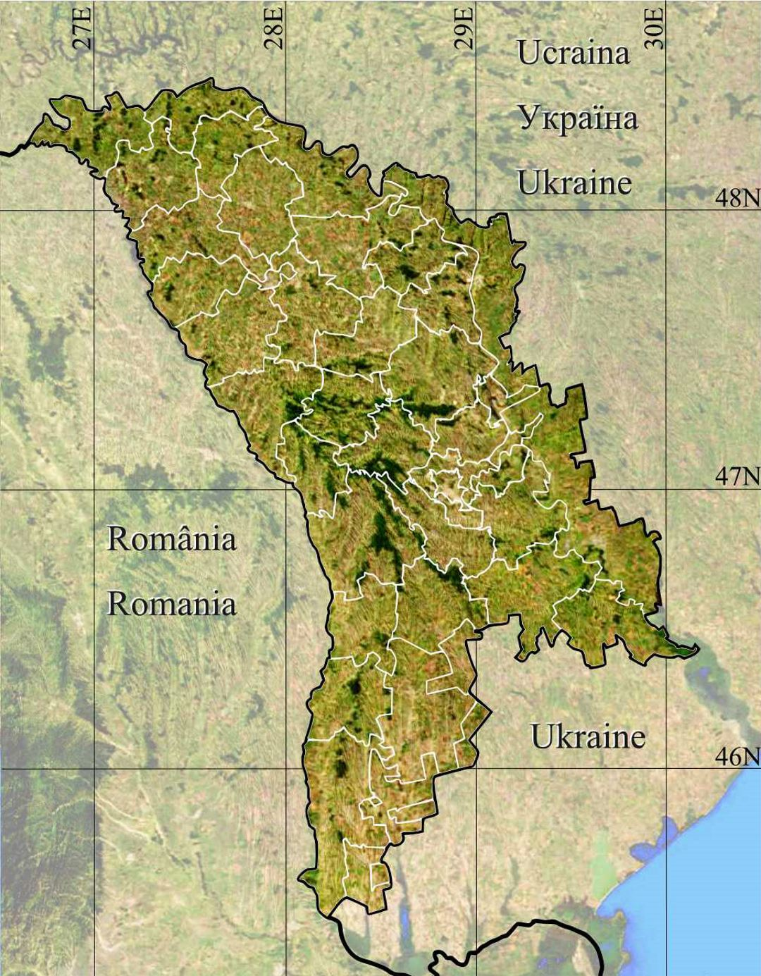 Detailed map of Moldova with terrain and administrative divisions