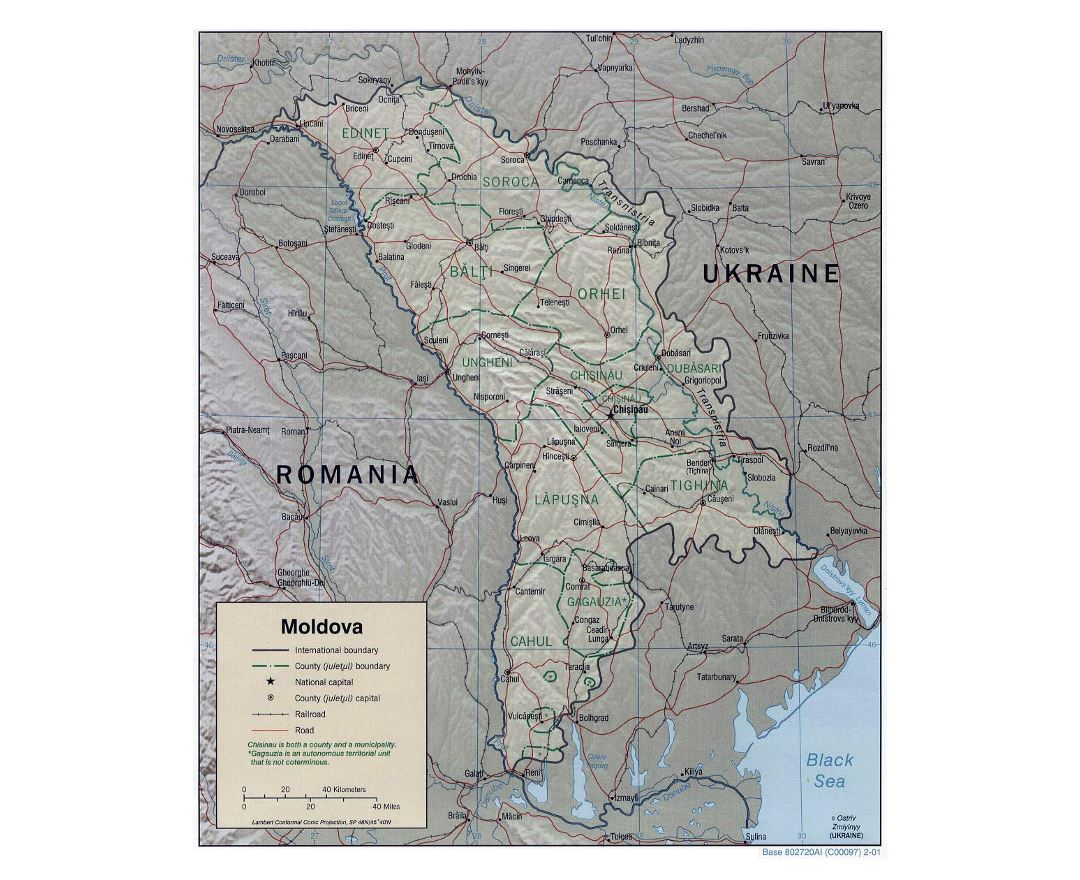 Detailed political and administrative map of Moldova with relief, roads, railroads and major cities - 2001