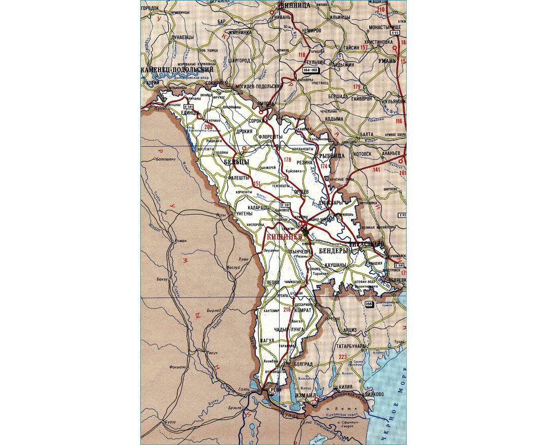 Detailed road map of Moldova in russian