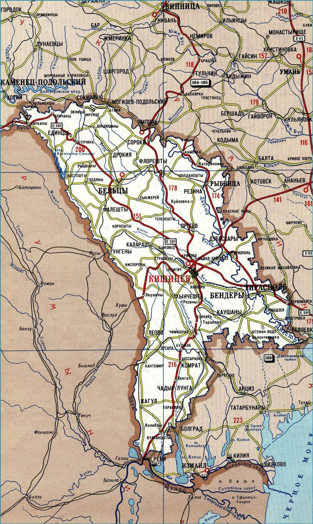 Detailed road map of Moldova in russian Moldova Europe