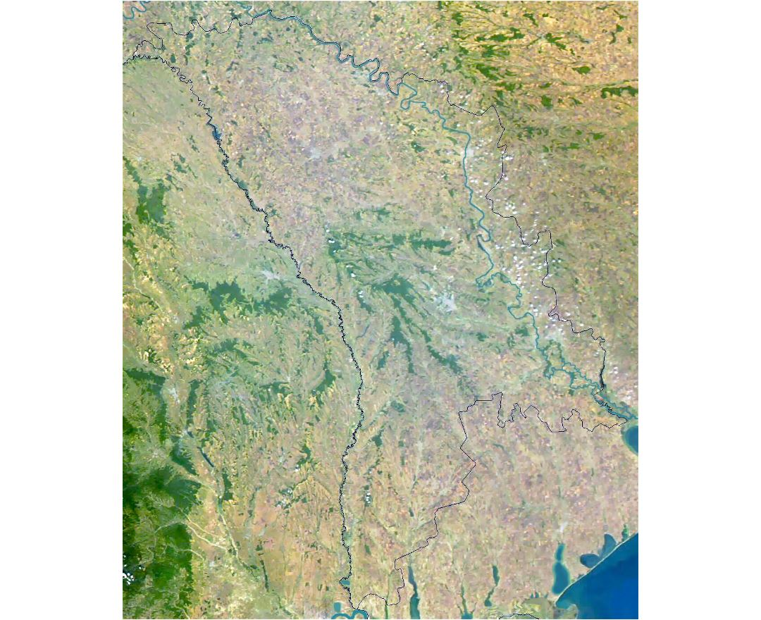 Detailed satellite map of Moldova