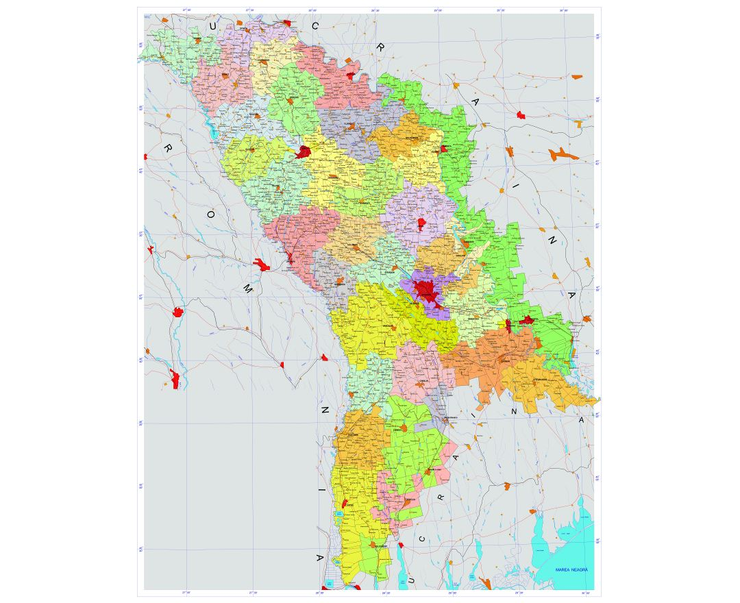 Large detailed administrative map of Moldova with all roads, cities, villages and airports