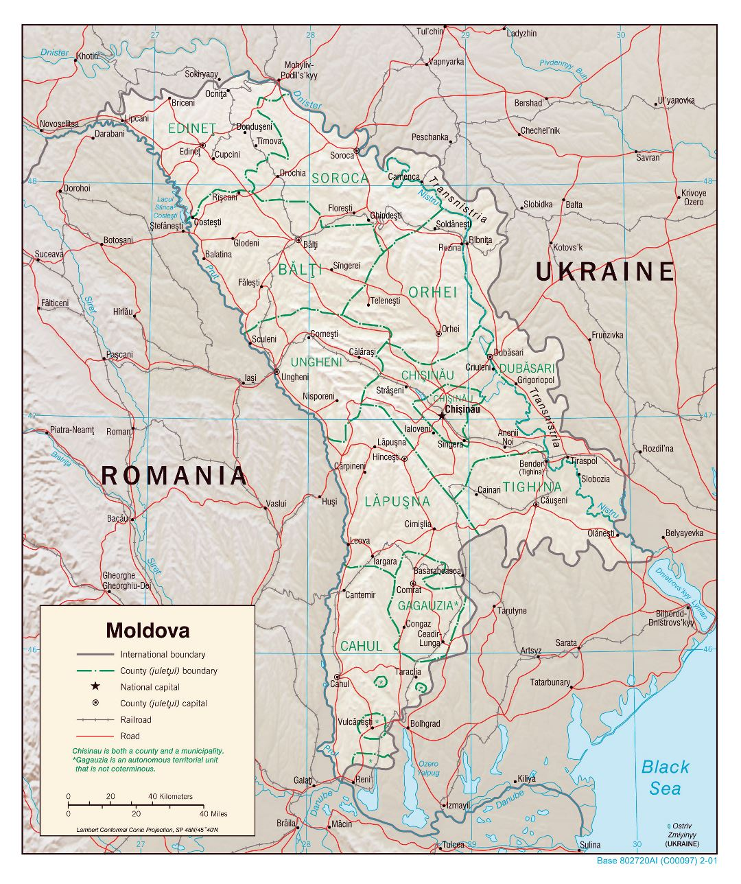 Large detailed political and administrative map of Moldova with relief, roads, railroads and major cities - 2001