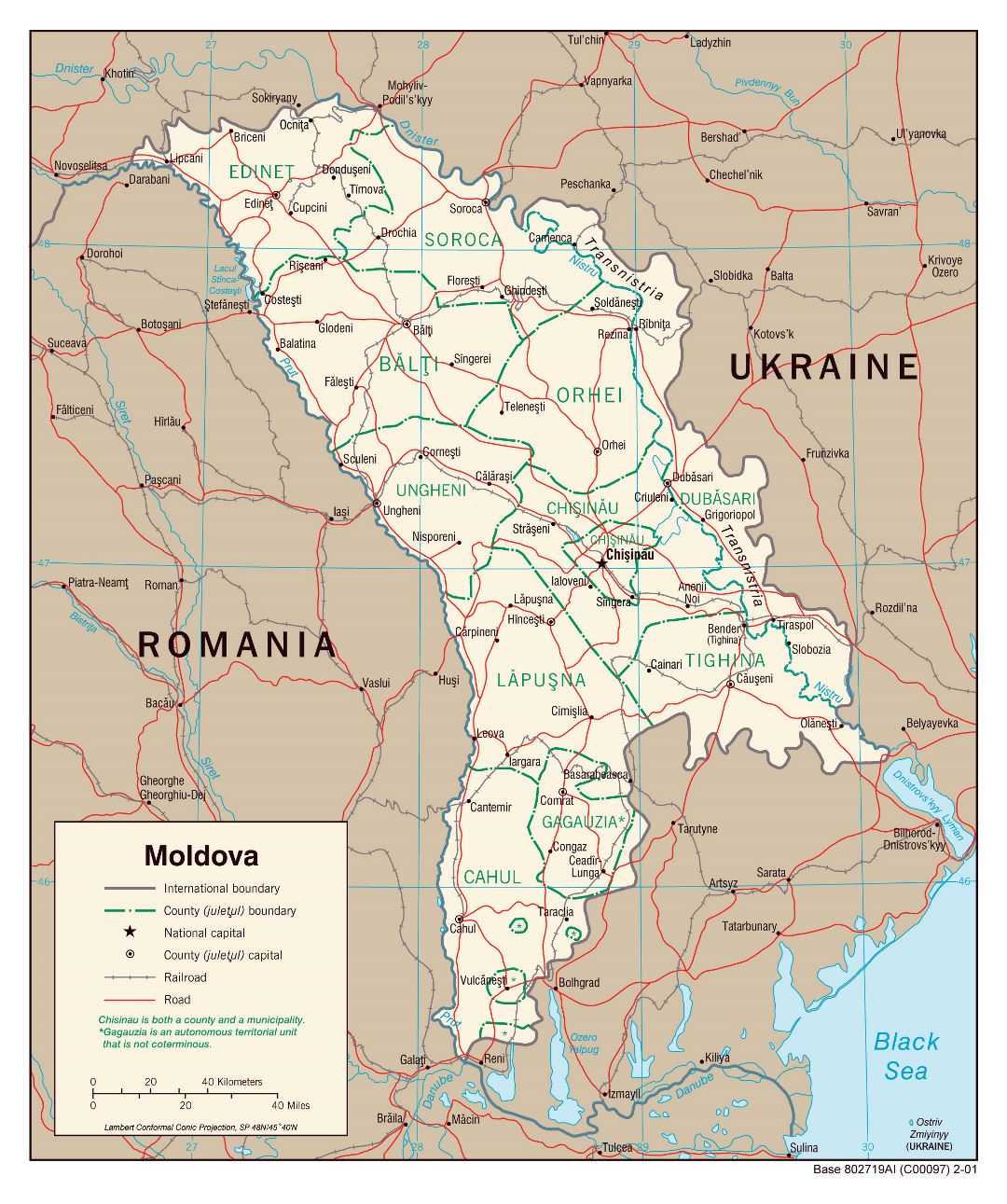 Large detailed political and administrative map of Moldova with roads, railroads and major cities - 2001
