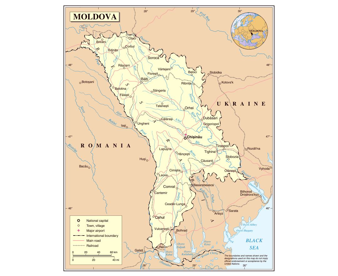 Large detailed political map of Moldova with roads, railroads, major cities and airports