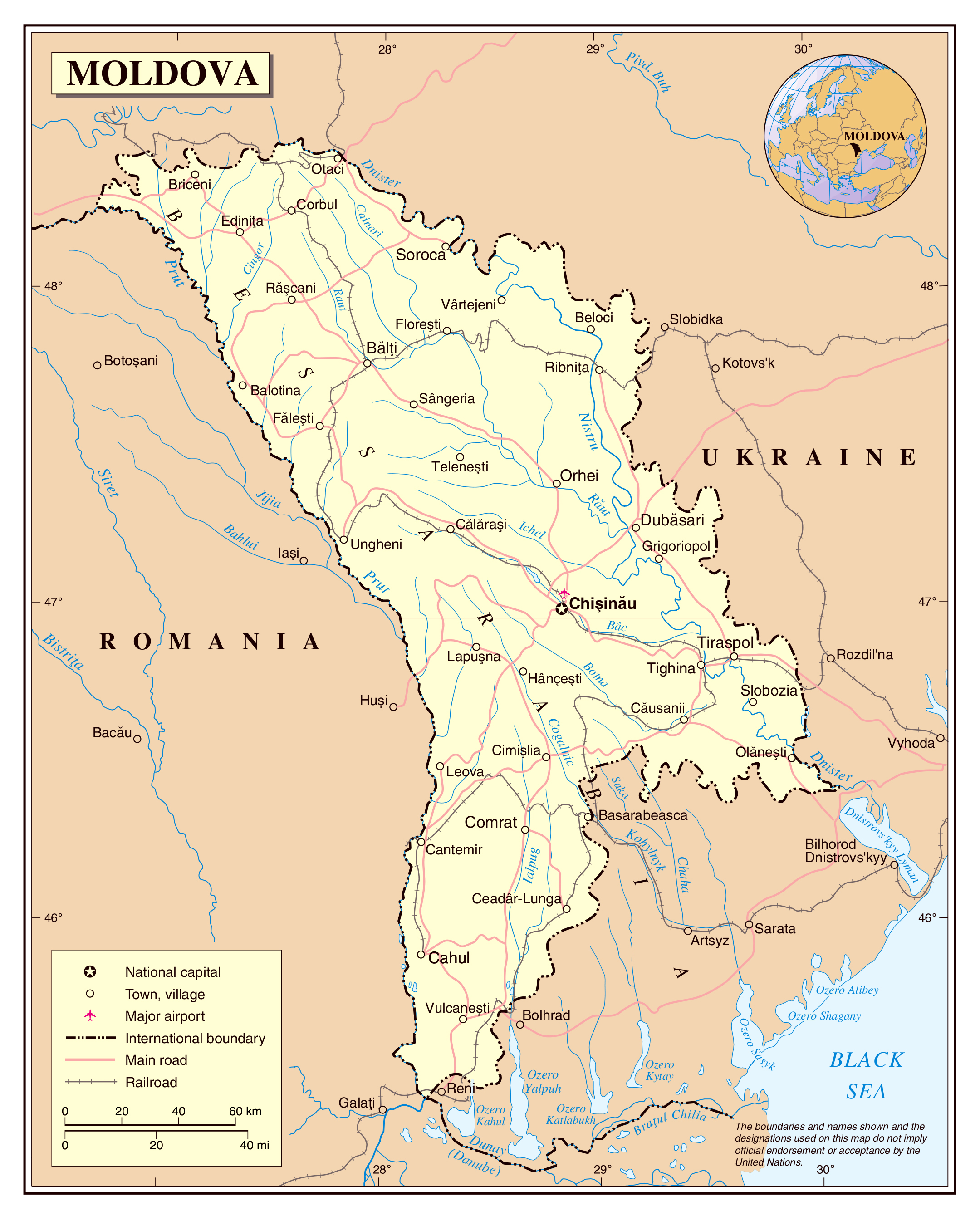 Large detailed political map of Moldova with roads railroads major