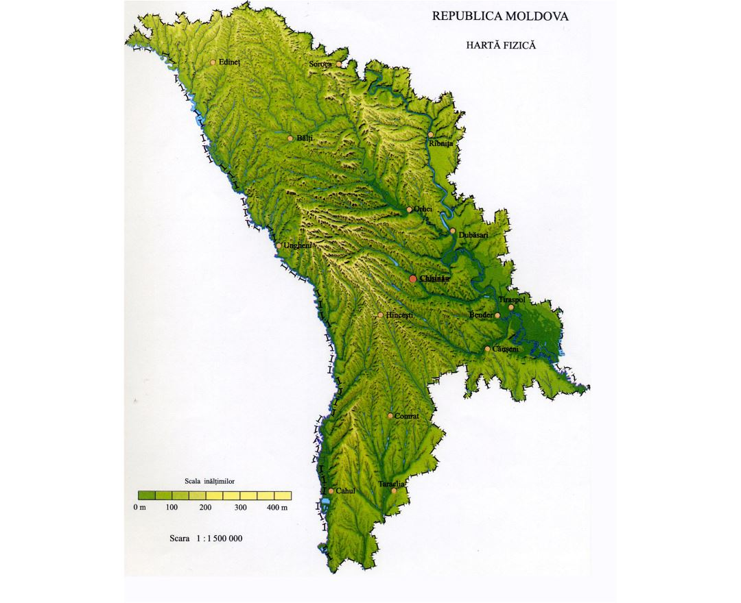 Large detailed relief map of Moldova