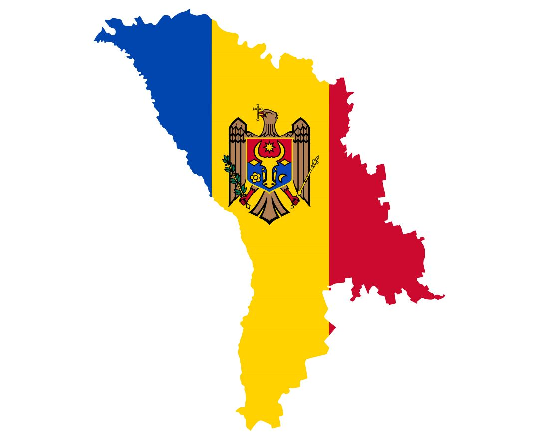 Large flag map of Moldova