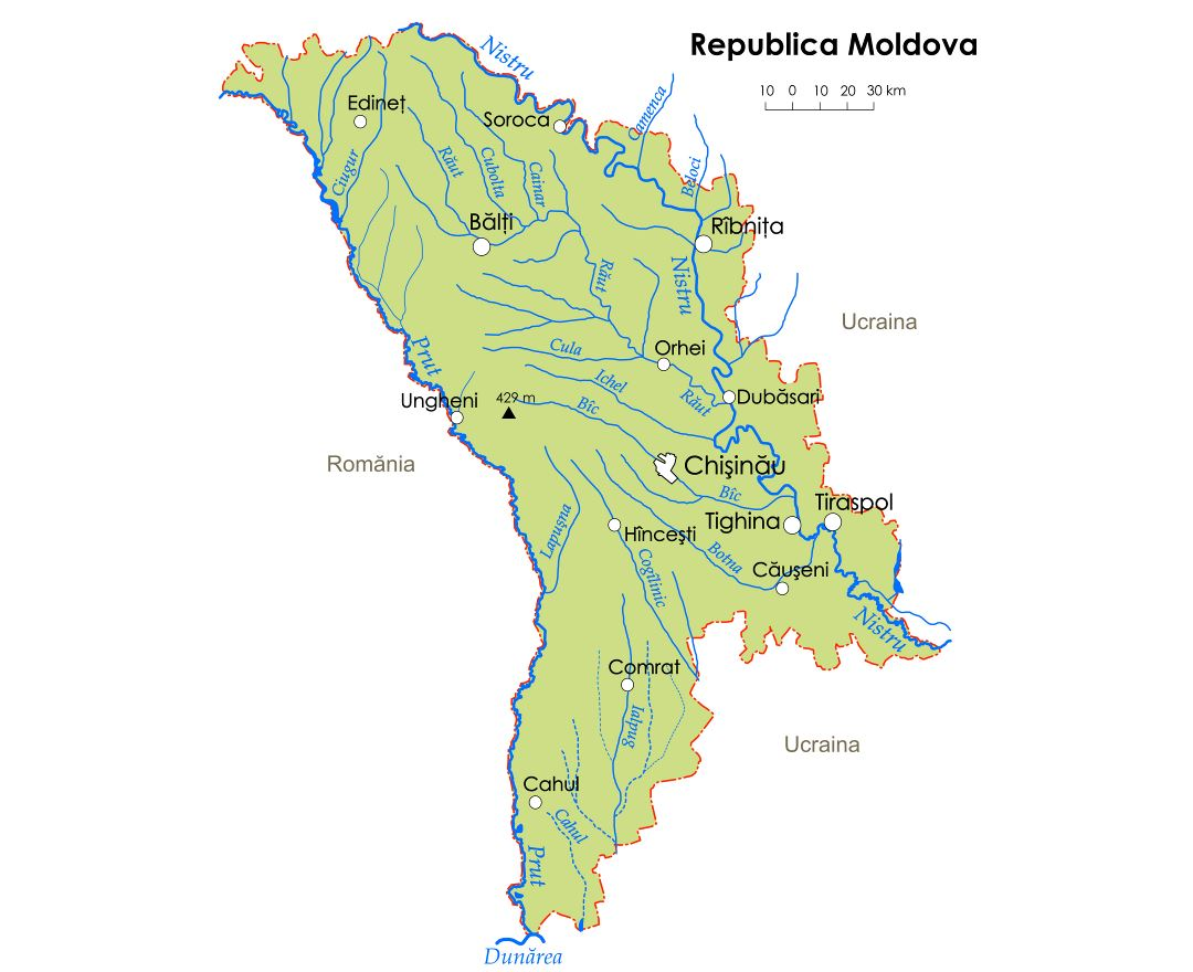 Large rivers map of Moldova with major cities
