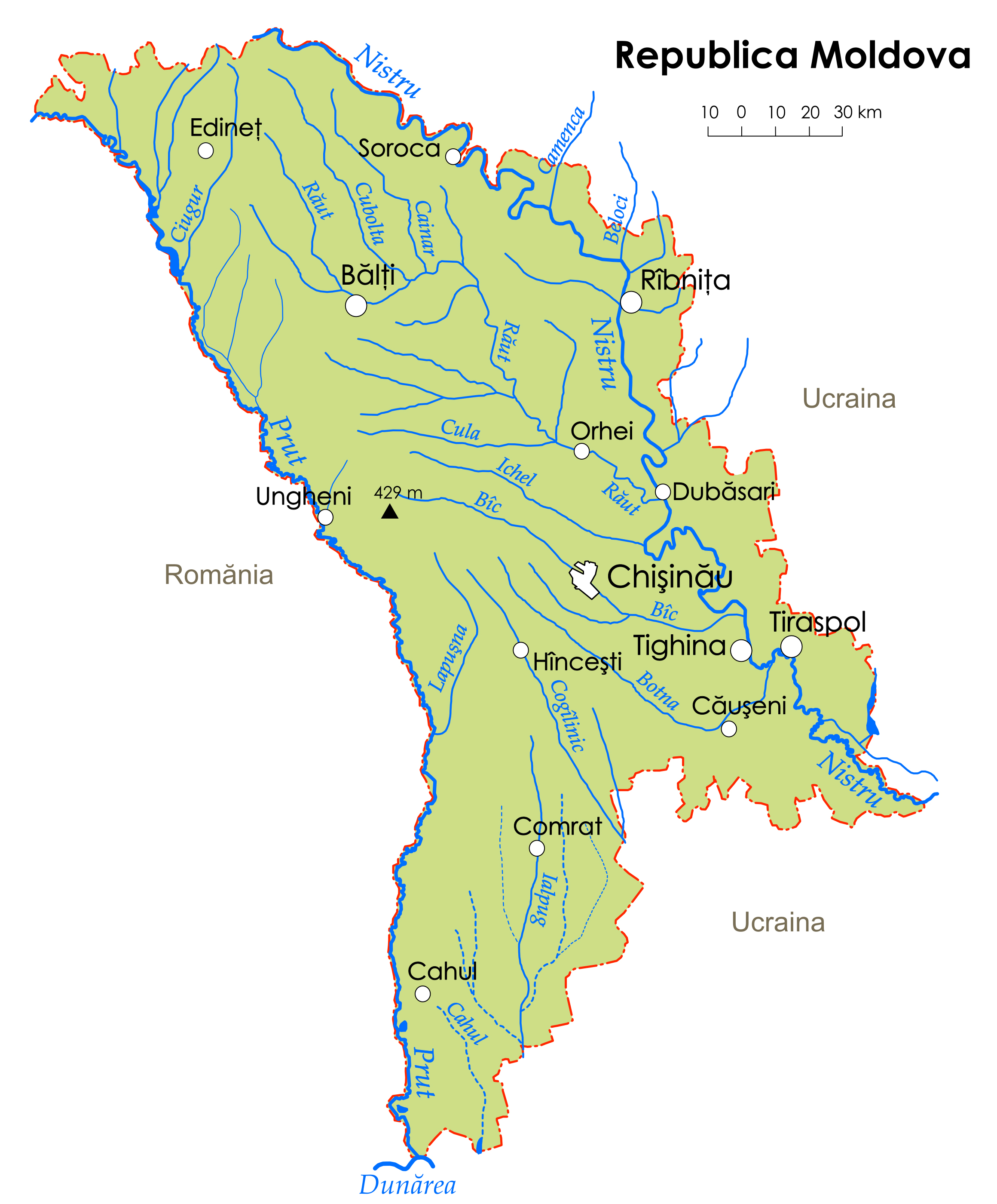 Large Rivers Map Of Moldova With Major Cities Moldova Europe